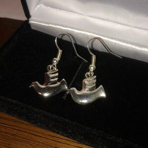 Sterling Silver platted dove drop earrings